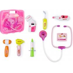 Zestaw lekarza w walizce DOKTOR +światła różowy ..