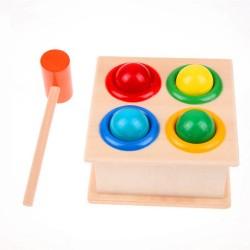 Zabawka drewniana wbijak + młotek montessori ..