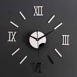 Zegar Ścienny srebrny cyfry rzymskie