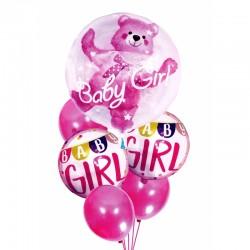 Balony na urodziny babyshower dziewczynki 6szt różowe ..