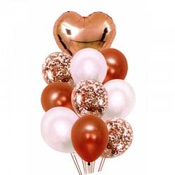 Balony z sercem i konfetti 30-46cm 10szt satynowe ..