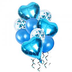 Balony z sercem i konfetti 30-46cm 10szt niebieski ..