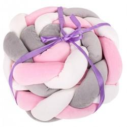 Ochraniacz otulacz do łóżeczka warkocz szary/biały/różowy 9x300cm ..