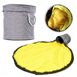 Kosz na zabawki z matą do zabawy 2w1 szaro-żółty ..