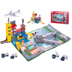 Lotnisko parking samolot + pojazdy zestaw 70el. ..